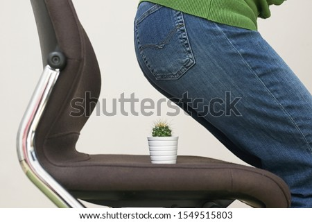 Woman Suffering From Hemorrhoids And Thorny Cactus on chair
