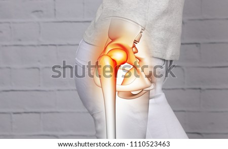 Woman suffering from hip joint pain