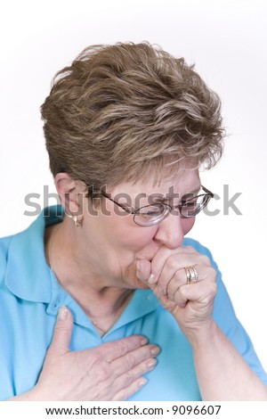 Woman suffering with a bad cough and cold