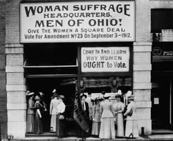 Woman Suffrage Headquarters in Cleveland, Ohio. Miss Belle Sherwin, President, National League of Women Voters (A); Judge Florence E. Allen is holding the flag; and Mrs. Malcolm McBride (C). 1912.