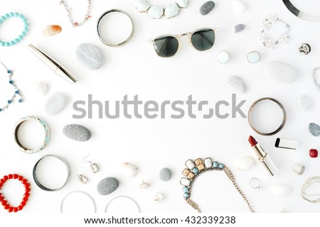 woman summer accessories collage on white, flat lay, top view