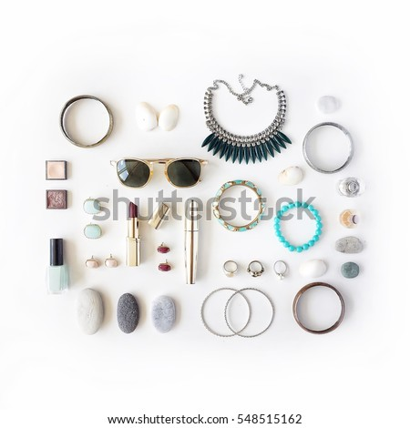 woman summer accessories collage on white. flat lay, top view