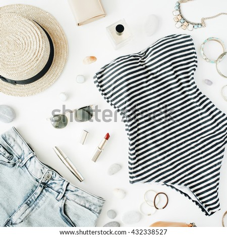 woman summer clothes and accessories collage on white, flat lay, top view
