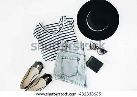 woman summer clothes collage on white, flat lay, top view