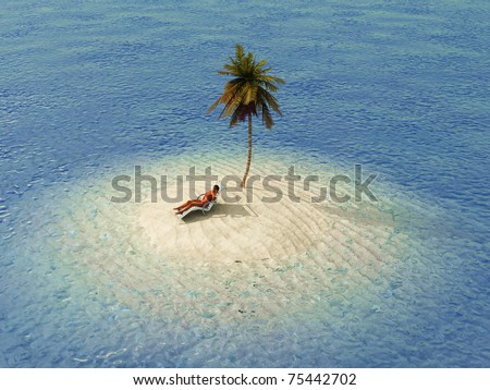 woman sunbathing in lounge on small island