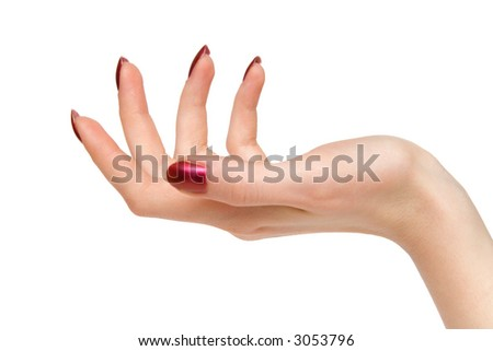 Woman support hand. Isolated on white. - stock photo