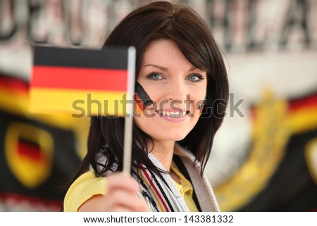 Woman supporting the German football team ストックフォト ©