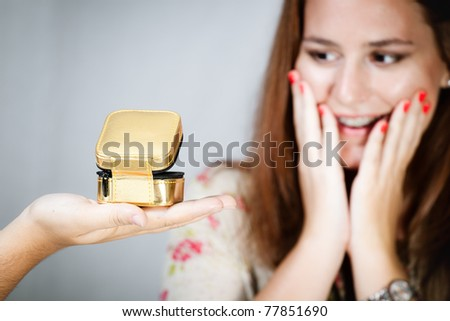 Woman surprise by a present/woman present