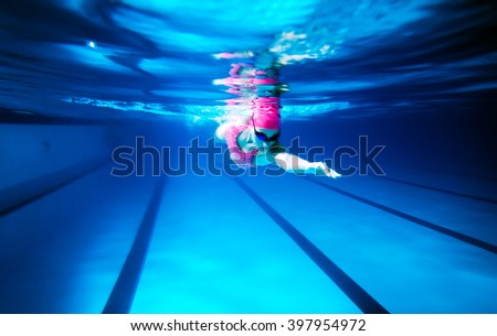 Woman Swimming Freestyle/ Under water shoot of a woman swimming freestyle in olympic pool