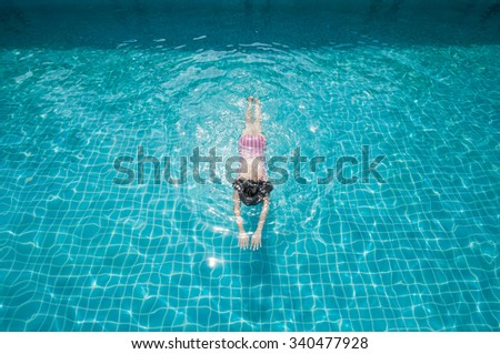 woman swimming on a blue water...