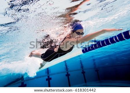 Woman swimming pool.Underwater photo #618301442