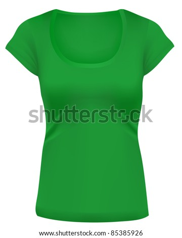 Woman t-shirts, Long cut, wide scoop-neck. Design template. Green.