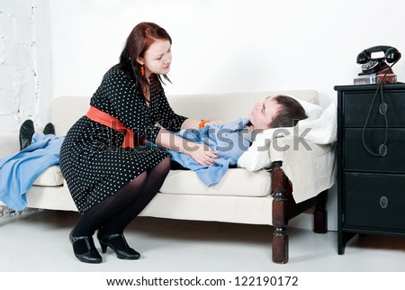 Woman take care of her sick man
