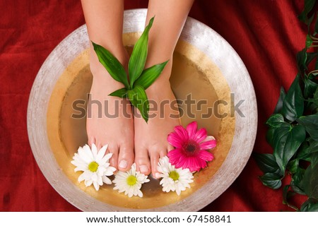 Woman taking care of her feet