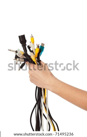 woman taking different wires in the hand