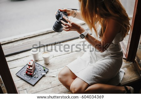 Woman Taking Photo Food Concept