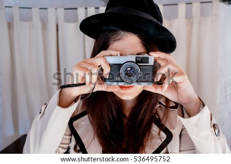 woman taking photo  vintage.