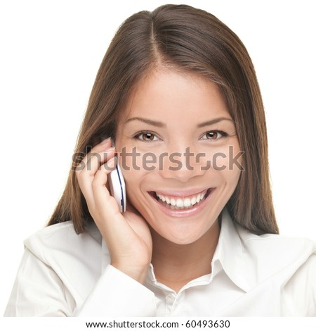 Woman talking on cellphone - Portrait of young beautiful smiling businesswoman looking at camera. Isolated on white background.