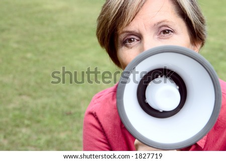 Woman talking through the megaphone