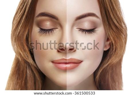 woman tan half face beautiful portrait spray