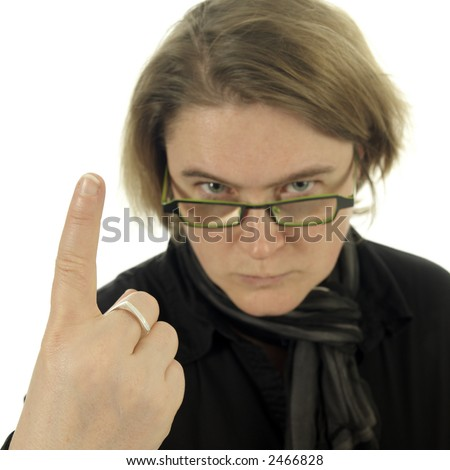 Woman (teacher) looking very angry and pointing with her finger (white background)