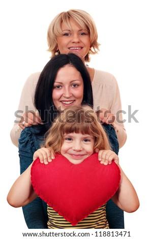 woman teenage and little girl family scene