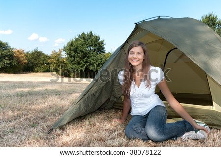 woman tent camping