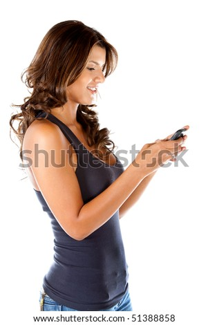 Woman texting on her cell phone isolated over a white background