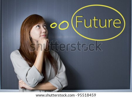 woman thinking about her future.