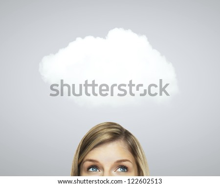 woman thinking and white cloud