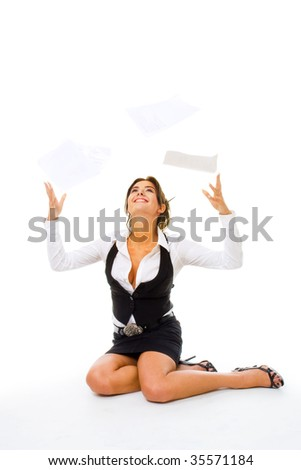 Woman throw away papers siting on the floor isolated on white in formal clothes