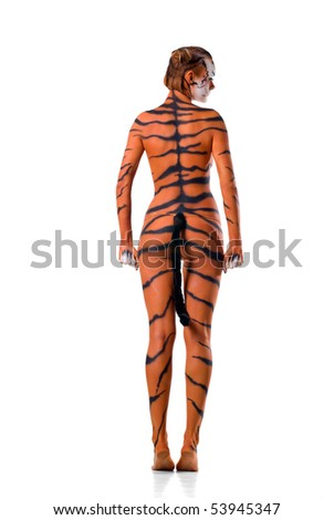 woman-tiger posing on white background