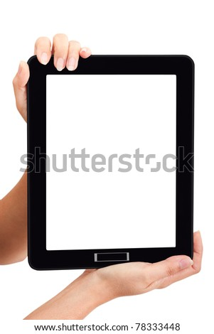 Woman touch black touch pad using for your market promotion