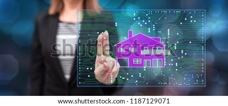 Woman touching a digital smart home automation concept on a touch screen with her fingers #1187129071