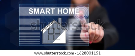 Woman touching a smart home concept on a touch screen with her finger