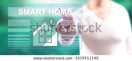 Woman touching a smart home concept on a touch screen with her fingers