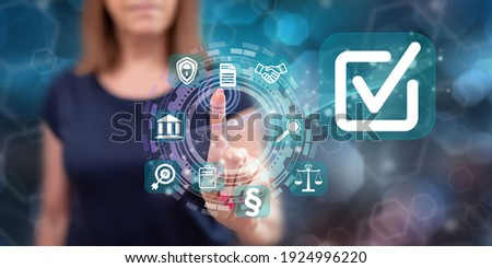Woman touching a validation concept on a touch screen with her finger Photo stock ©