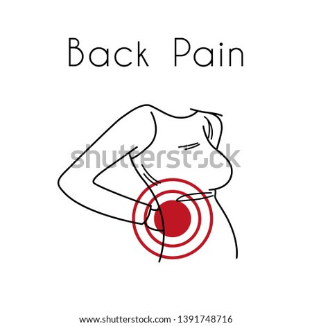 Woman touching back in pain area. Backache illustration for medicine or presentation