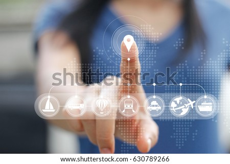 Woman touching icon travel online network connection on screen, traveler concept #630789266