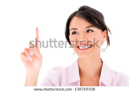 Woman touching imaginary screen with her finger - isolated over white