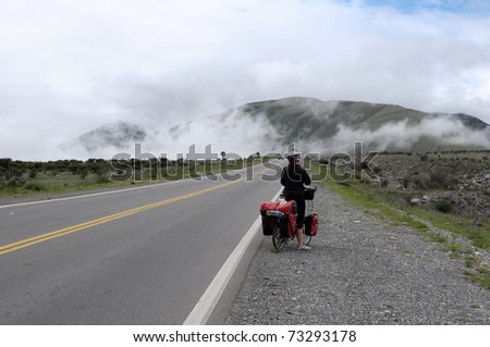 Woman touring road 9 to Jujuy North Argentina