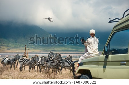 Woman tourist on safari-tour in Africa, traveling by car in Tanzania, watching wild animals and birds in the National park Ngorongoro.