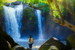 woman tourist watching waterfall in the Khaoyai national park Thailand