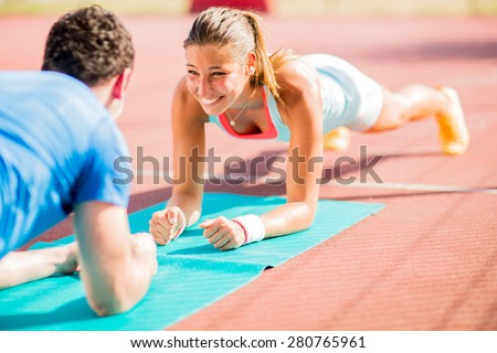 woman training with personal...