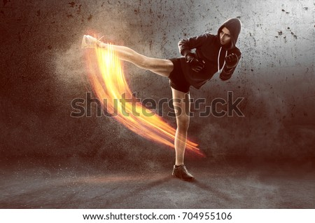 Woman trains martial arts