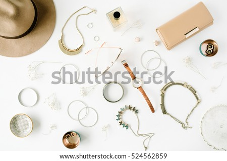 woman trendy fashion accessories arrangement on white, flat lay, top view