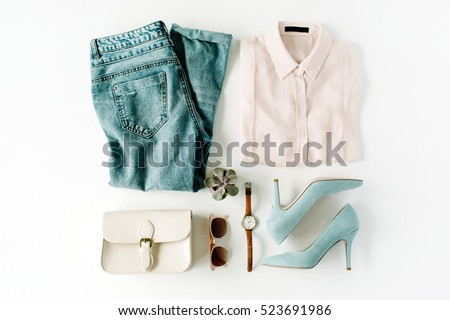 woman trendy fashion clothes collage on white, flat lay, top view - Shutterstock ID 523691986