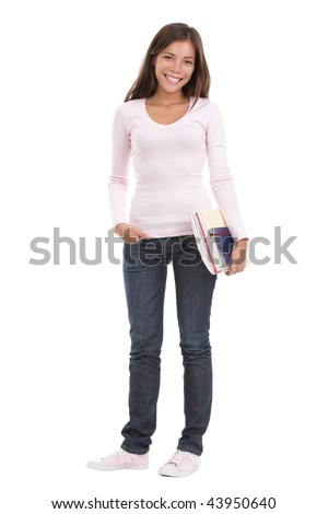 Woman university / college student. Full length image of female student holding books. Beautiful mixed race asian / caucasian model. Isolated on seamless white background.