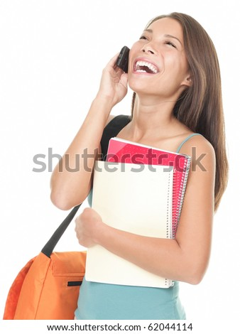 Woman university student talking on the phone. Asian / caucasian female model isolated on white background.
