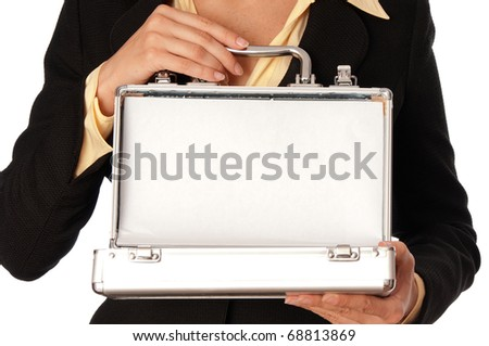 woman unlocking metal grey case with money